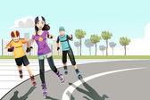 Rollerblading teenagers — Stock Vector