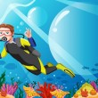 Royalty-Free Stock Vector Image: Scuba diver in the ocean