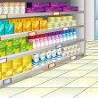 Stock Vector: Grocery store aisle