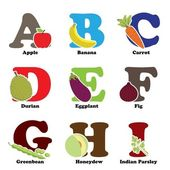 Fruit and vegetable alphabet — Stock Vector