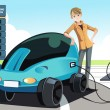 Man charging electric car — Stock Vector
