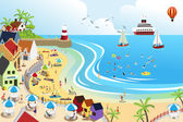 Beach town — Stock Vector