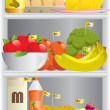 Food in refrigerator — Vettoriali Stock