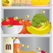 Food in refrigerator — Stock Vector