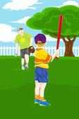 Father son playing baseball — Stock Vector