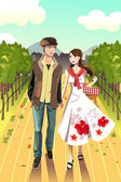 Couple walking in a winery — Stock Vector