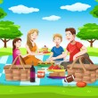 Happy family having a picnic - Stock Vector