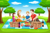 Happy family having a picnic — Stock Vector