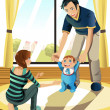 Parents with their baby - Imagen vectorial