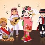 Multi-ethnic kids performing — Stock Vector