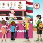 Kids buying ice cream — Stock Vector