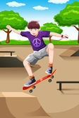Happy kid playing skateboard — Stock Vector