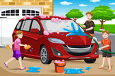 Father and his kids washing car — Stock Vector