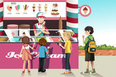 Kids buying ice cream — Stock Vector