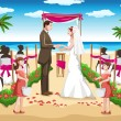 Vector de stock : Beach wedding