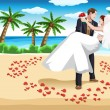 boda de playa — Vector de stock