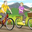 Royalty-Free Stock Vector Image: Senior riding bike