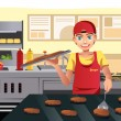 Cooking at fast food — Stock Vector