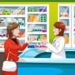 Buying medicine in pharmacy - Stock Vector