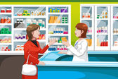 Buying medicine in pharmacy — Cтоковый вектор