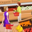 Royalty-Free Stock Vector Image: People shopping for organic food