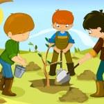 Volunteer kids — Stock Vector