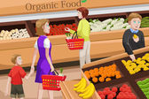 Shopping for organic food — Stock Vector