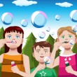 Kids blowing bubbles — Stock Vector