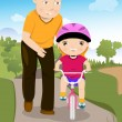 Stock Vector: Father teaching his daughter riding bike