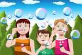 Barn blåsa bubblor — Stockvektor