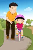Padre enseñando a su hija en una bicicleta — Vector de stock