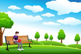 Man reading a book on the bench — Stock Vector