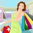 Shopping girl in a mall — Stock Vector
