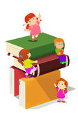 Kids climbing in stack of books — Stock Vector