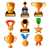Gold medal and trophy icons — Stock Vector