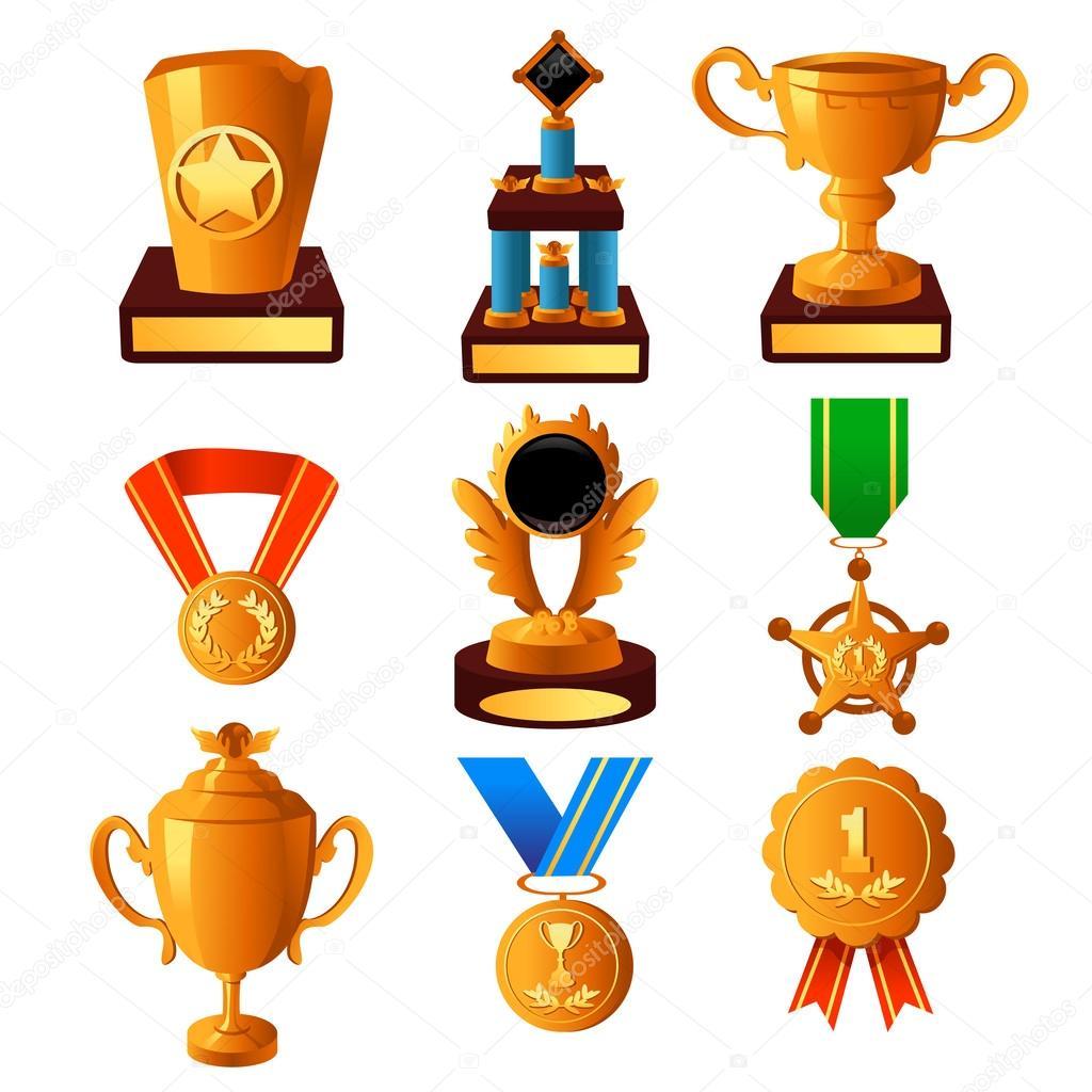 金奖牌和奖杯的图标集矢量图