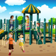 Stock Vector: Multi-ethnic kids playing in the playground
