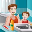 Father teaching his son how to brush his teeth — Stock Vector