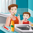 Stock Vector: Father teaching his son how to brush his teeth
