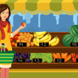 Stock Vector: Woman shopping in an outdoor farmers market