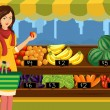 Woman shopping in an outdoor farmers market - Imagens vectoriais em stock