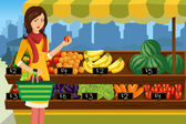 Woman shopping in an outdoor farmers market — Cтоковый вектор