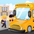Stock Vector: Kids waiting to get on a school bus