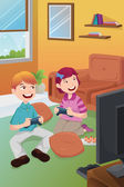 Kids playing video games at home — Stock Vector