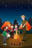 Kids in summer camp — Stock Vector