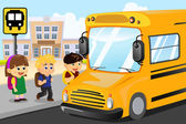 Kids waiting to get on a school bus — Stock Vector