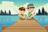 Father and son going fishing in a lake — Stock Vector