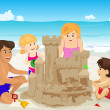 Family building sand castle — Stock Vector