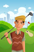Man playing golf — Vecteur