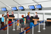 Lining up at the check-in counter in the airport — Stock Vector